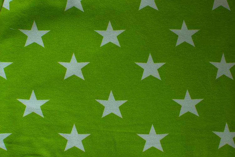 """Grönt """"lime"""" med vita stjärnor"""