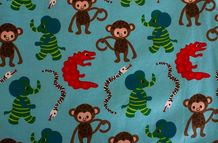 Elefanter och apor turkost